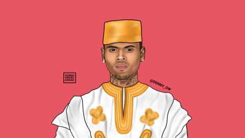 Owusu-Ansah has renamed Chris Brown Chris Kofi Sarpong Brown. He is highlighting the beauty of Africa through his current pop art of famous personalities.