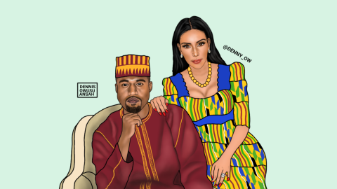 """Dennis Owusu-Ansah is a New York-based Ghanaian artist whose pop art images are taking Instagram by storm. The artist told CNN """"the piece I'm most proud of is the """"Kanye West and Kim Kardashian"""" painting, because it was very challenging. I lost hope and almost gave up on that piece because it wasn't coming out as I expected. I worked on this painting for four days straight."""""""