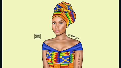 Combining bright colors with intricate patterns, Owusu-Ansah has created Nicki Minaj, aka, Nicki Maame Akua Amponsah.