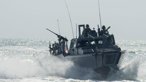 Riverine Command Boat 805 transits through the Arabian Gulf during patrol operations on November 2, 2015.