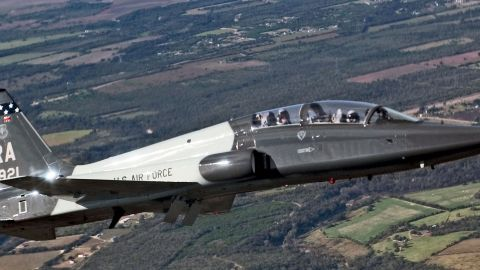 The twin-engine jet trainer, used by the Air Force to prepare pilots for the F-15E Strike Eagle, F-15C Eagle, F-16 Fighting Falcon, B-1B Lancer, A-10 Thunderbolt and F-22 Raptor, first flew in 1959. Almost 550 are in the active force.