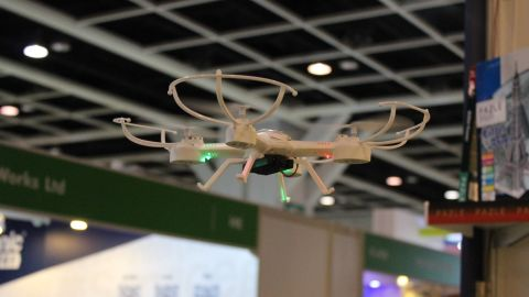 """Drones like this one took center stage at this year's Hong Kong Toys and Games Fair this week. No fewer than 40 manufacturers have brought their latest flying machines to the event, according to organizers. There is even a dedicated demonstration area for such """"flying objects"""" inside the convention hall."""