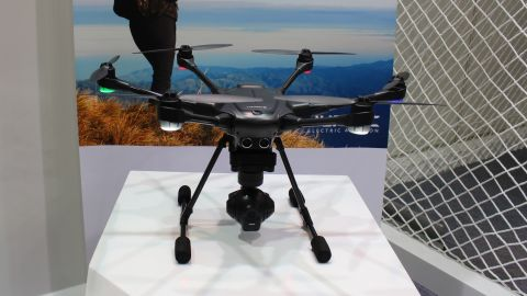This is the Yuneec Typhoon H drone, fresh from Las Vegas, where PCMagazine named it the best drone at this year's CES. It has been called the closest competitor to DJI, the dominant consumer drone maker, to date.