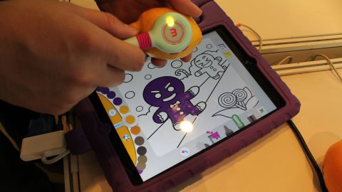Think Photoshop's color picker, but in real life. From Taiwan, this color-picking stylus is just one of many app-enabled educational toys on display at the fair.