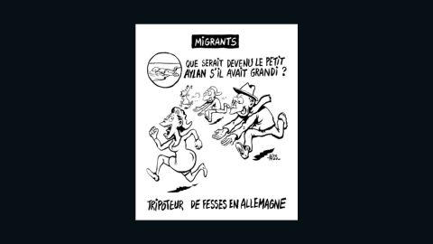 """This controversial Charlie Hebdo cartoon by acting editor Laurent """"Riss"""" Sourisseau reads: """"What would little Aylan have grown up to be? (A) groper in Germany."""""""