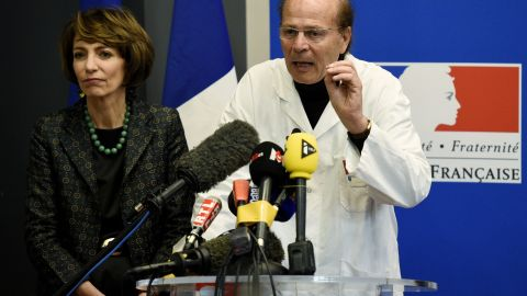 French Social Affairs and Health minister Marisol Touraine and Professor Gilles Edan hold a news conference Friday.