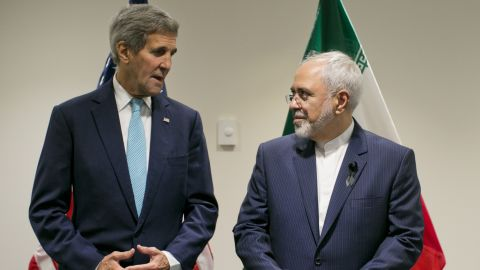 United States Secretary of State John Kerry poses with Foreign Affairs Minister of Iran Javad Zarif during a bilateral talk at the United Nations headquarters on September 26, 2015, at the United Nations in New York.