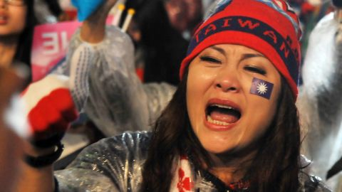 A supporter of Chu chants slogans during a rally in Taipei on Friday, January 15.