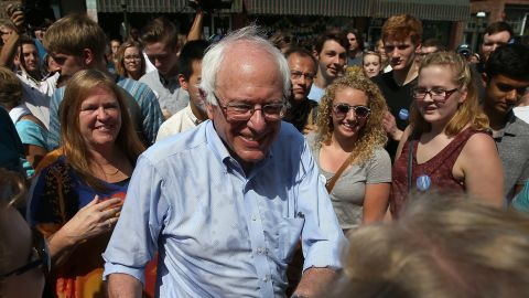 MARION, IA - AUGUST 16:  Democratic presidential candidate U.S. Sen. Bernie Sanders (I-VT) greets supporters while he campaigns on August 16, 2015 in Marion, Iowa. Sanders has a full day of campaigning scheduled in eastern Iowa today.  (Photo by Win McNamee/Getty Images)