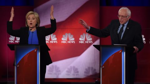 Democratic presidential candidates Hillary Clinton (L)  and Bernie Sanders (R) participate in the NBC News -YouTube Democratic Candidates Debate on January 17, 2016 at the Gaillard Center in Charleston, South Carolina.. / AFP / TIMOTHY A. CLARY        (Photo credit should read TIMOTHY A. CLARY/AFP/Getty Images)
