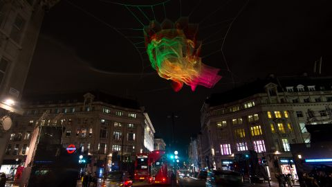 """A four-day light festival kicked off in the English capital on January 2016, and features the work of 30 global artists. One highlight is the """"1.8 London"""" structure by American artist Janet Echelman, which is constructed using fishing nets and suspended above Oxford Circus."""