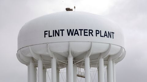 The Flint Water Plant tower.