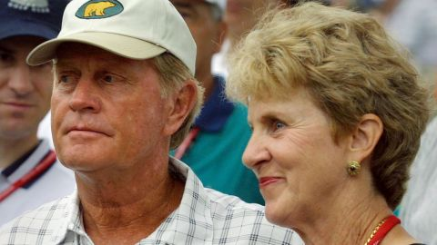 Nicklaus and his wife Barbara started children's charity work after their infant daughter was saved from choking to death by a Columbus hospital. Here they watch their son Gary competing in the 2001 U.S. Open golf tournament.