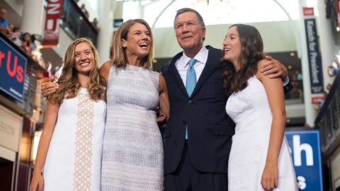 COLUMBUS, OHIO - JULY 21:    Ohio Governor John Kasich stands with his wife Karen (left center) and his daughters Emma (Blonde hair) and Reese (brown hair) after giving his speech announcing his 2016 Presidential candidacy at the Ohio Student Union, at The Ohio State University on July 21, 2015 in Columbus, Ohio. Kasich became the 16th candidate to officially enter the race for the Republican presidential nomination.  (Photo by Ty Wright/Getty Images)