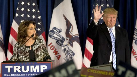 AMES, IA - JANUARY 19:   Republican presidential candidate Donald Trump acknowledges the crowd as former Alaska Gov. Sarah Palin speaks at Hansen Agriculture Student Learning Center at Iowa State University on January 19, 2016 in Ames, IA. Trump received Palin's endorsement at the event.  (Photo by Aaron P. Bernstein/Getty Images)