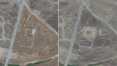 This combination of two satellite images provided by DigitalGlobe, taken on August 21, 2014, left, and August 29, 2015, right, shows the site of the 1,400-year-old Christian monastery known as St. Elijahs, or Dair Mar Elia, on the outskirts of Mosul, Iraq.