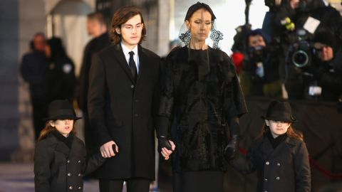 """Recording artist Celine Dion and children René-Charles and twins Eddy and Nelson attend the funeral for her husband <a href=""""http://www.cnn.com/2016/01/16/entertainment/rene-angelil-celine-dion-husband-death-feat/"""">René Angélil </a>at Notre-Dame Basilica in Montreal, Canada, on Friday, January 22."""