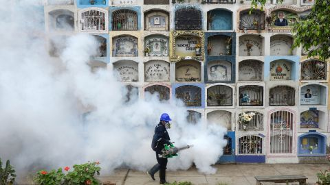 A specialist fumigates the Nueva Esperanza graveyard in the outskirts of Lima on January 15, 2016. Health officials fumigated the largest cementery in Peru and second largest in the world to prevent Chikunguya and Zika virus, which affect several South American countries. AFP PHOTO/ERNESTO BENAVIDES / AFP / ERNESTO BENAVIDES        (Photo credit should read ERNESTO BENAVIDES/AFP/Getty Images)