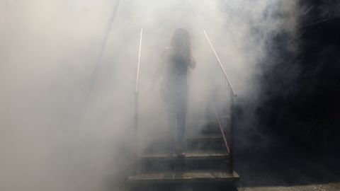 A woman walks through fumes as health ministry employees fumigate an area in Soyapango on Thursday, January 21.