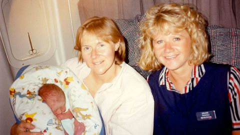 During her research Owen came into contact with Debs Lowther, who gave birth to her son Jonathan, just four months before Owen was born, on a British Airways flight from Malawi.