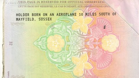 """Shona Owen's passport declares that the holder was """"born on an aeroplane 10 miles south of Mayfield, Sussex."""""""