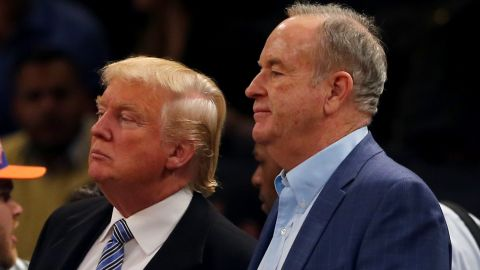 Donald Trump and Bill O'Reilly attend the game between the New York Knicks and the Cleveland Cavaliers at Madison Square Garden on November 30, 2014 in New York City.