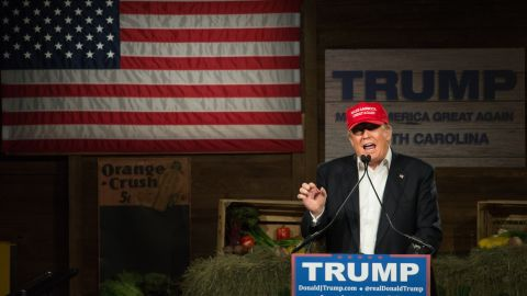 GOP presidential candidate Donald Trump speaks to the crowd at a campaign rally January 27, 2016 in Gilbert, South Carolina.