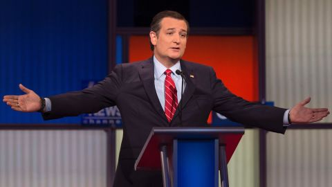 Republican Presidential candidate Texas Senator Ted Cruz gestures during the Republican Presidential debate sponsored by Fox News at the Iowa Events Center in Des Moines, Iowa on January 28, 2016. / AFP / AFP PHOTO / Jim WATSON        (Photo credit should read JIM WATSON/AFP/Getty Images)