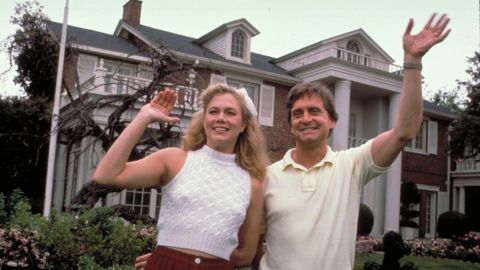"""A formerly happy couple played by Kathleen Turner and Michael Douglas bust up in spectacular fashion in """"War of the Roses."""" Their fight over the posh family home grows increasing deranged as the film progresses."""