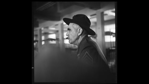 """R. Lee Ermey as Gunnery Sgt. Hartman, watching his performance on video playback in the Marine Corps barracks in 1986. """"He worked very hard on his performance,"""" Modine said, """"and studying himself on the playback was very helpful."""""""