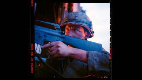 """Sgt. Crazy Earl was played by Kieron Jecchinis. """"One of the local guys hired to play war with the rest of us,"""" Modine said. """"He asked me if I would take a picture of him preparing to take out an imaginary bad guy."""""""