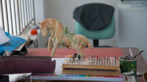 This small horse statuette was fashioned from mammoth tusk -- an ivory substitute excavated from the Siberian permafrost.