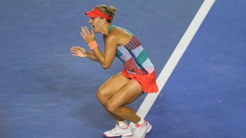 That winning feeling: Kerber celebrates winning an epic three set final against Williams.