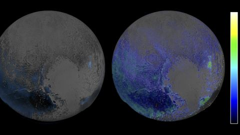 This image made in infrared light shows water ice is abundant on Pluto's surface. The image was created using two scans of Pluto made by the New Horizons spacecraft on July 14, when the probe was about 67,000 miles (108,000 kilometers) above Pluto.
