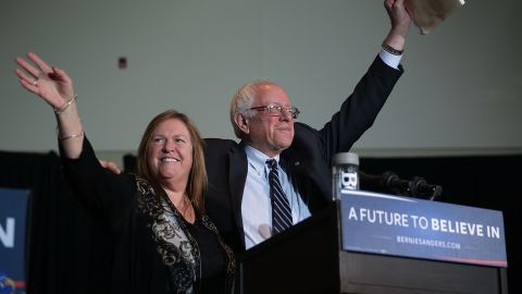 DUBUQUE, IA - JANUARY 29:  Democratic presidential candidate Sen. Bernie Sanders (I-VT)  and his wife Jane O'Meara Sanders wave on stage during a campaign rally at Grand River Event Center January 29, 2016 in Dubuque, Iowa. Sanders continues to seek support for the Democratic nomination prior to the Iowa caucus on February 1.  (Photo by Alex Wong/Getty Images)