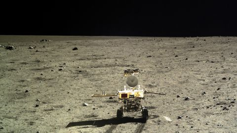 """China has released hundreds of high-resolution photos taken by its Chang'e-3 lunar lander and rover. The rover, known as the """"Jade Rabbit,"""" is pictured here on the moon's surface."""