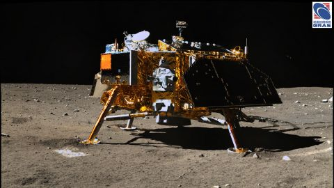 A shot of the Chang'e-3 lander taken by the jade rabbit's panoramic camera.