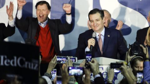 """U.S. Sen. Ted Cruz emerges victorious at a rally Monday, February 1, in Des Moines after taking first place in Iowa's Republican caucuses on Monday, February 1. With about 99% of precincts reporting, Cruz had 28% of the vote, compared with 24% for Donald Trump and 23% for U.S. Sen. Marco Rubio. """"Iowa has sent notice that the Republican nominee and the next president of the United States will not be chosen by the media, will not be chosen by the Washington establishment,"""" Cruz said."""