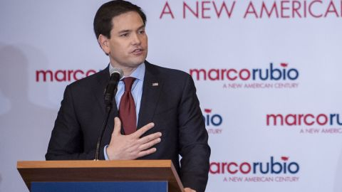 DES MOINES, IOWA - FEBRUARY 1: Republican presidential candidate, Sen. Marco Rubio (R-FL) addresses supporters at a caucus night party at the Marriott hotel on February 1, 2016 in Des Moines, Iowa. Republican and Democratic candidates for President of the United States are awaiting the first primary voting in the 2016 Presidential Election.  (Photo by Pete Marovich/Getty Images)