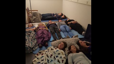 Students at Marblehead High School in Massachusetts meditate in a new Zen Room at the school.