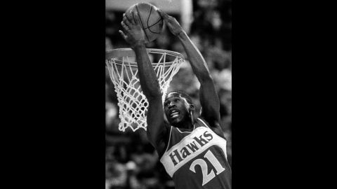 """<strong>Dominique Wilkins (1985):</strong> """"The Human Highlight Film"""" was impressive in 1984, finishing in third place. But he got the better of Erving and Nance this time around, flashing a variety of powerful dunks that included windmills, reverses and 360 spins. In the finals, Wilkins defeated a league rookie named Michael Jordan. The two would duel again in 1988."""