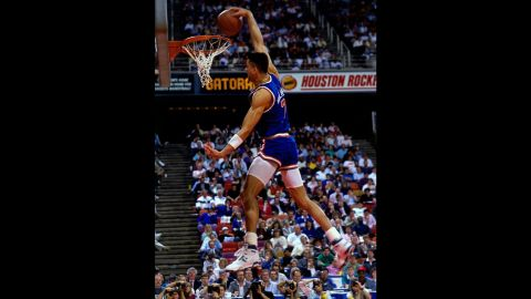 """<strong>Kenny Walker (1989):</strong> Neither Jordan nor Wilkins competed in 1989, but Kenny """"Sky"""" Walker was able to fill the void with some thunderous dunks, including a """"rock the cradle"""" jam from the baseline. He held off a field that included Webb, a previous champion, and Drexler, a hometown favorite who played at the University of Houston. Walker almost didn't even compete; his father had died just a few days before the contest."""