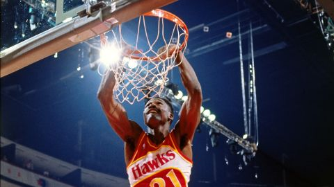 <strong>Dominique Wilkins (1990):</strong> Wilkins reclaimed his title in Miami, throwing down several of his trademark windmills to defeat a group that included Walker and runner-up Kenny Smith.