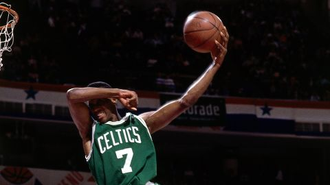 <strong>Dee Brown (1991):</strong> The 6-foot-1 Celtics guard brought marketing to the forefront, inflating his Reebok Pumps throughout the contest. His signature dunk was his last one, as he covered his eyes for a no-look finish.