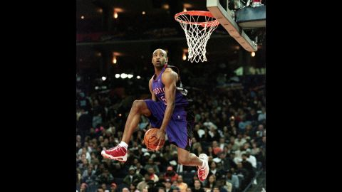 """<strong>Vince Carter (2000):</strong> The NBA scrapped the dunk contest for the 1998 season, feeling it had lost a bit of its luster and star power. And in 1999, a lockout meant there was no All-Star Weekend at all. But both returned in 2000, when Vince Carter put on what many think was the greatest single performance in slam dunk history. The high-flying Raptor did a little bit of everything. He started with a reverse 360 windmill. He went between the legs after catching an alley-oop pass. He even stuck half his arm inside the hoop, dangling from his elbow a few seconds after a dunk. """"Michael Jackson is my favorite artist of all time, and it was like the closest thing to a Michael Jackson concert to me on a basketball level,"""" Allen Iverson told Jason Buckland, <a href=""""http://espn.go.com/nba/story/_/page/dunk-2000/oral-history-2000-nba-slam-dunk-contest"""" target=""""_blank"""" target=""""_blank"""">who wrote an oral history</a> about the Carter performance for ESPN. """"I don't think a dunk contest will ever be duplicated in that fashion ever again."""""""