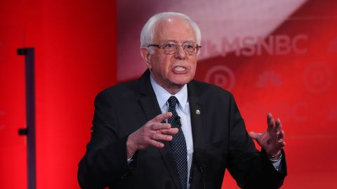 Bernie Sanders speaks at the MSNBC Democratic Candidates Debate at the University of New Hampshire on February 4, 2016, in Durham, New Hampshire.
