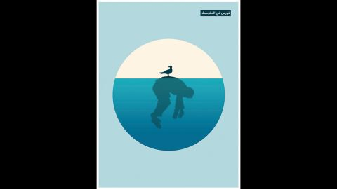"""The posters by Fares Cachoux are simple and haunting. Though he was living abroad as the civil war broke out in his homeland, he wanted to show the world the stories coming out of Syria. His most recent poster reflects on the nearly million refugees who have attempted to cross the Mediterranean in 2015 for safer land, according to the IOM. One of two of these people are Syrian. """"The sea graveyard for countless Syrians attempting to cross to escape DEATH ... She awaits in the depths of the waves of the Mediterranean,"""" the caption reads in French below the work he sent to CNN."""
