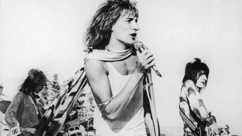 """<strong>Rod Stewart</strong> began his career as a rocker with The Faces, seen here at a 1973 concert in Los Angeles. By the mid-'70s he he had remade himself as a raspy crooner of love songs, including """"Tonight's the Night,"""" """"The First Cut is the Deepest"""" and """"You're In My Heart."""""""