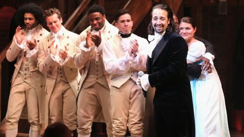 """""""Hamilton,"""" which blends hip hop and other musical styles to recount the life of American founding father Alexander Hamilton, has been the toughest ticket on Broadway since late 2015. The musical by composer-star Lin-Manuel Miranda (second from right) won 11 Tonys, including best musical, and has become a genuine phenomenon. It follows in a long tradition of hugely popular Broadway shows. Click through to see others."""
