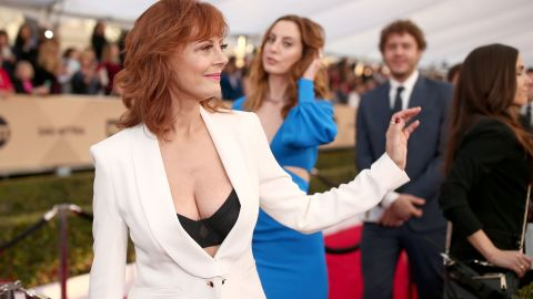 """Susan Sarandon's cleavage <a href=""""http://www.cnn.com/2016/02/06/living/susan-sarandon-cleavage-feat/"""">got a lot of attention</a> at the 22nd annual Screen Actors Guild Awards in January."""